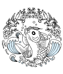 飛び跳ねる魚と小鳥の楽しいデザイン