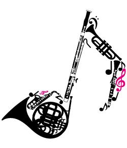 楽器を音符の形に集めたデザイン