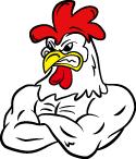 腕組みしたおこった鶏体育祭のイメージキャラです