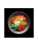 岩手県盛岡の名物盛岡冷麺の写真をプリントしたおもしろいデザイン。冷麺の写真をお店の看板メニューに変更すれば、お店のユニフォームを簡単に製作できます。