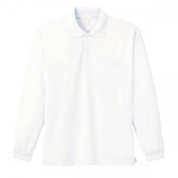 ドライ長袖ポロシャツ001.ホワイト