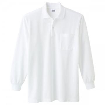 T/C長袖ポロシャツ001.ホワイト