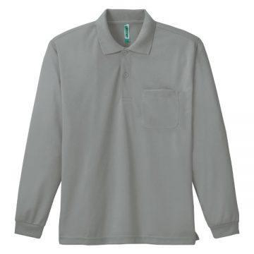 ドライ長袖ポロシャツ002.グレー