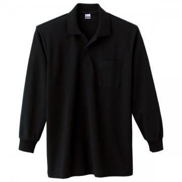 T/C長袖ポロシャツ005.ブラック