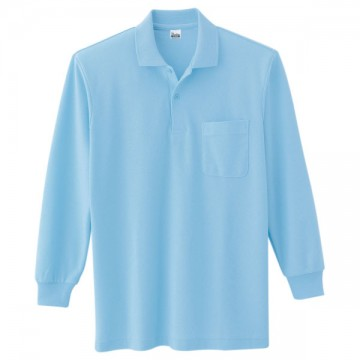 T/C長袖ポロシャツ033.サックス