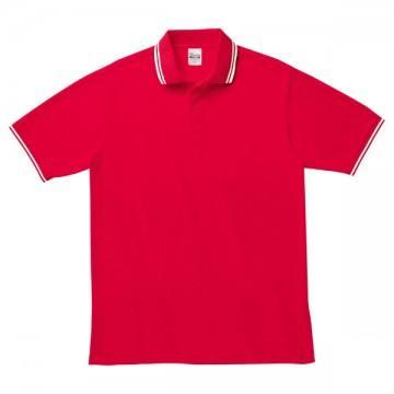 ベーシックラインポロシャツ064.レッド×ホワイト