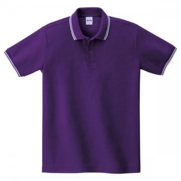 ベーシックラインポロシャツ067.パープル×ホワイト