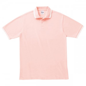 ベーシックラインポロシャツ147.ピンク×ホワイト