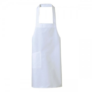 調理用胸当てエプロン15.ホワイト