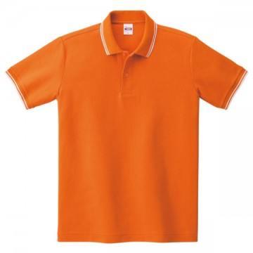 ベーシックラインポロシャツ302.オレンジ×ホワイト