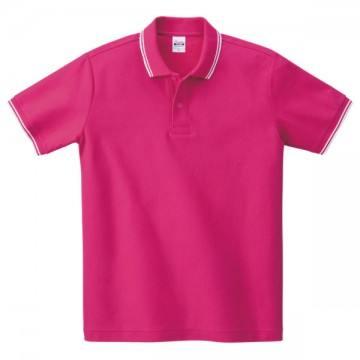 ベーシックラインポロシャツ303.ホットピンク×ホワイト