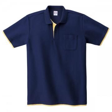 ベーシックレイヤードポロシャツ312.ネイビー×イエロー