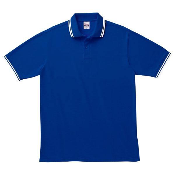 ベーシックラインポロシャツ191ロイヤルブルー×ホワイト
