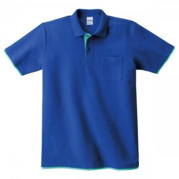 ベーシックレイヤードポロシャツ326.ロイヤルブルー×ミントグリーン
