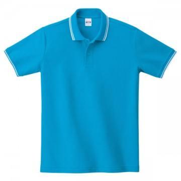 ベーシックラインポロシャツ341.ターコイズ×ホワイト