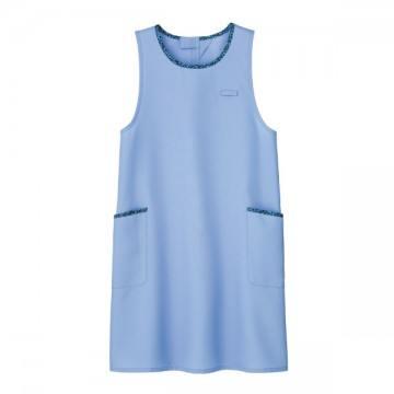 胸当てエプロン花柄トリミング6.ブルー
