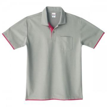 ベーシックレイヤードポロシャツ646.グレー×ホットピンク