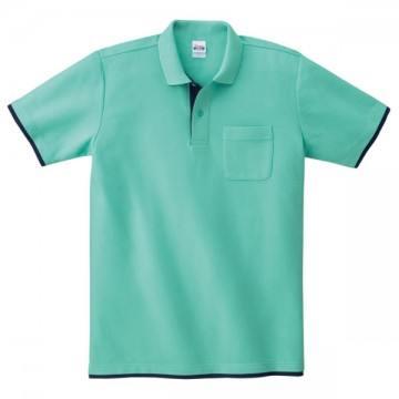 ベーシックレイヤードポロシャツ652.ミントグリーン×ネイビー