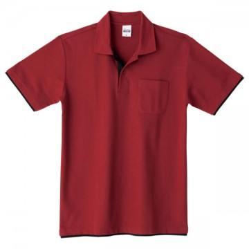 ベーシックレイヤードポロシャツ657.バーガンディ×ブラック