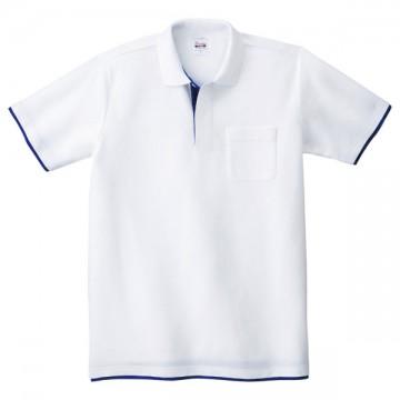 ベーシックレイヤードポロシャツ732.ホワイト×ロイヤルブルー