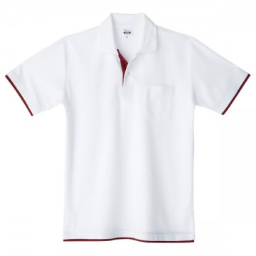 ベーシックレイヤードポロシャツ802.ホワイト×バーガンディ