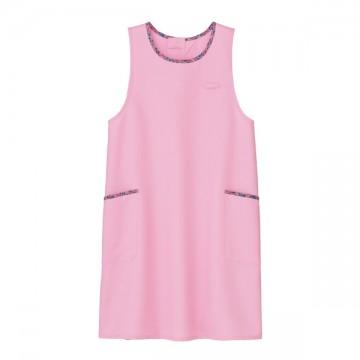 胸当てエプロン花柄トリミングB9.ピンク