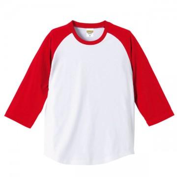 ラグラン3/4スリーブTシャツ1050.ホワイト×レッド