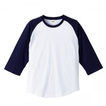 ラグラン3/4スリーブTシャツ1086.ホワイト×ネイビー