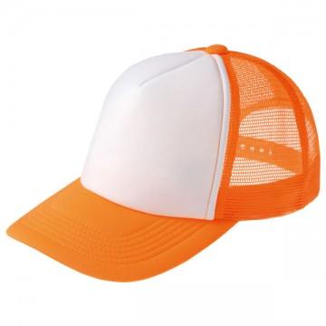 ネオンメッシュキャップ123.蛍光オレンジ×ホワイト