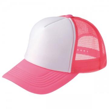 ネオンメッシュキャップ126.蛍光ピンク×ホワイト