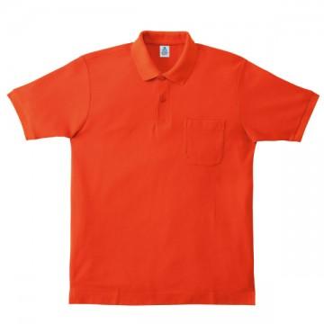 ポケット付鹿の子ドライポロシャツ13.オレンジ