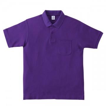 ポケット付鹿の子ドライポロシャツ14.パープル