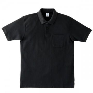 ポケット付鹿の子ドライポロシャツ16.ブラック