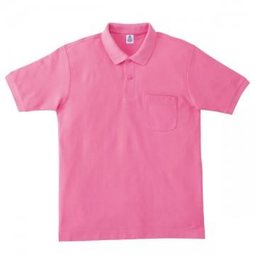 ポケット付鹿の子ドライポロシャツ19.ピンク