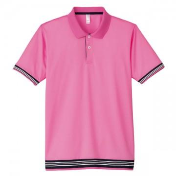 裾ラインリブポロシャツ19.ピンク