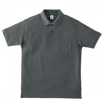 ポケット付鹿の子ドライポロシャツ22.チャコールグレー
