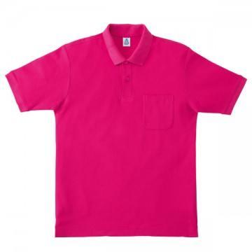 ポケット付鹿の子ドライポロシャツ29.ショッキングピンク