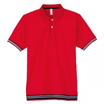 裾ラインリブポロシャツ3.レッド