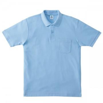 ポケット付鹿の子ドライポロシャツ6.サックス