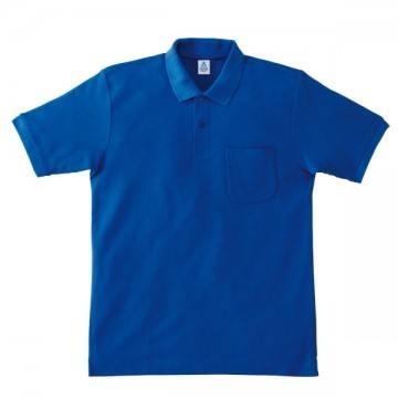 ポケット付鹿の子ドライポロシャツ7.ロイヤルブルー