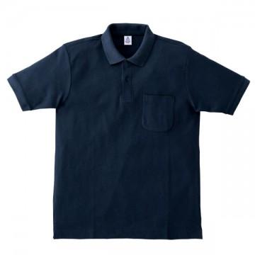 ポケット付鹿の子ドライポロシャツ8.ネイビー