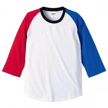 ラグラン3/4スリーブTシャツ9852.レッド×ロイヤルブルー×ブラック×ホワイト