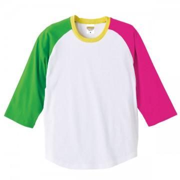 ラグラン3/4スリーブTシャツ9853.ブライトググリーン×ホットピンク×イエロー×ホワイト