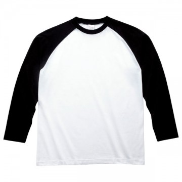 ラグラン長袖Tシャツ705.ホワイト×ブラック