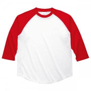 ラグランベースボールTシャツ710.ホワイト×レッド