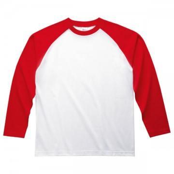 ラグラン長袖Tシャツ710.ホワイト×レッド