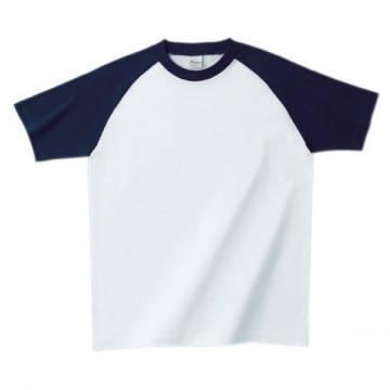 プリントスターラグランTシャツ731.ホワイト×ネイビー