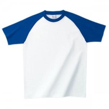 プリントスターラグランTシャツ732.ホワイト×ロイヤルブルー