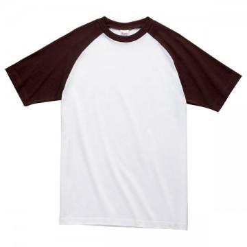 プリントスターラグランTシャツ768.ホワイト×チョコレート