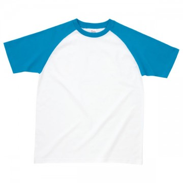プリントスターラグランTシャツ821.ホワイト×ターコイズ